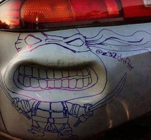 dibujo tortuga coche
