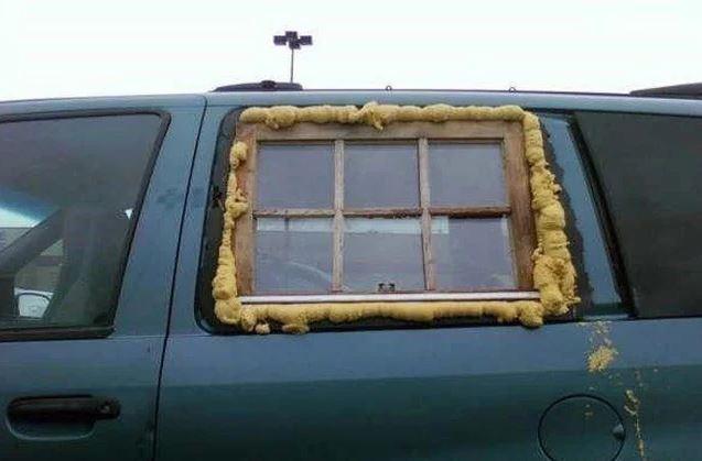 ventana de casa en el coche
